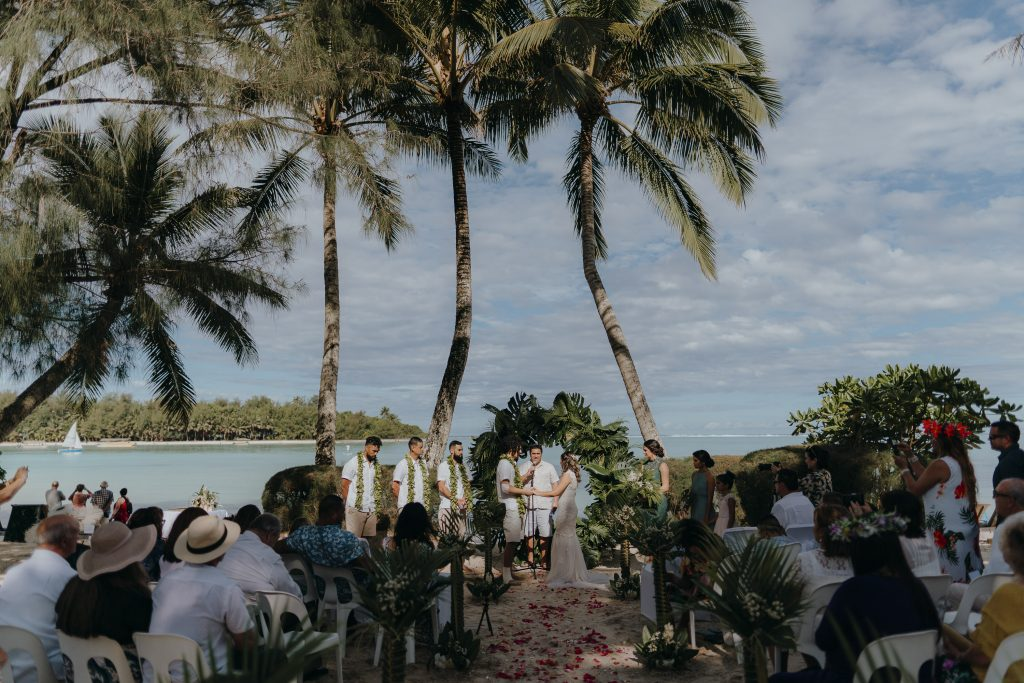 Destination wedding photography of Kea and Reece during their ceremony in Rarotonga