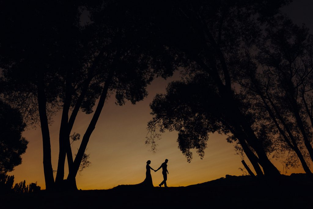 A fine art portrait at sunset of bride and groom by Wellington wedding photographer Binh Trinh