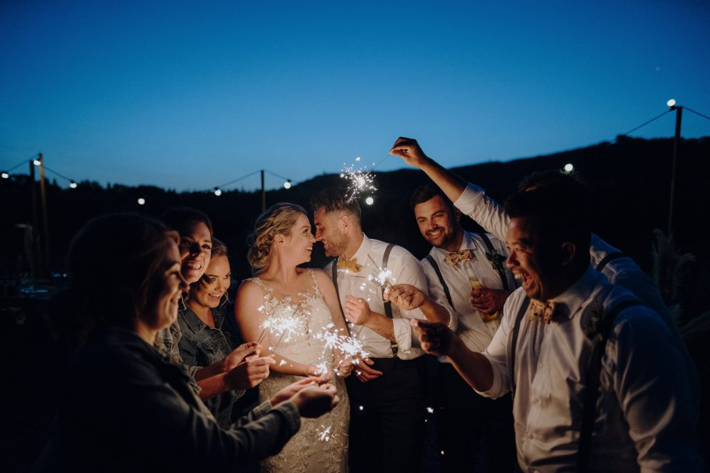Fun sparklers photo with Jade at Rathmoy rustic wedding venue by wedding photographer Binh Trinh