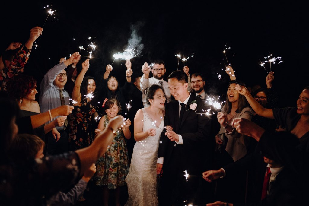Sparklers photos by wellington wedding photographer Binh Trinh with Tony and Mel