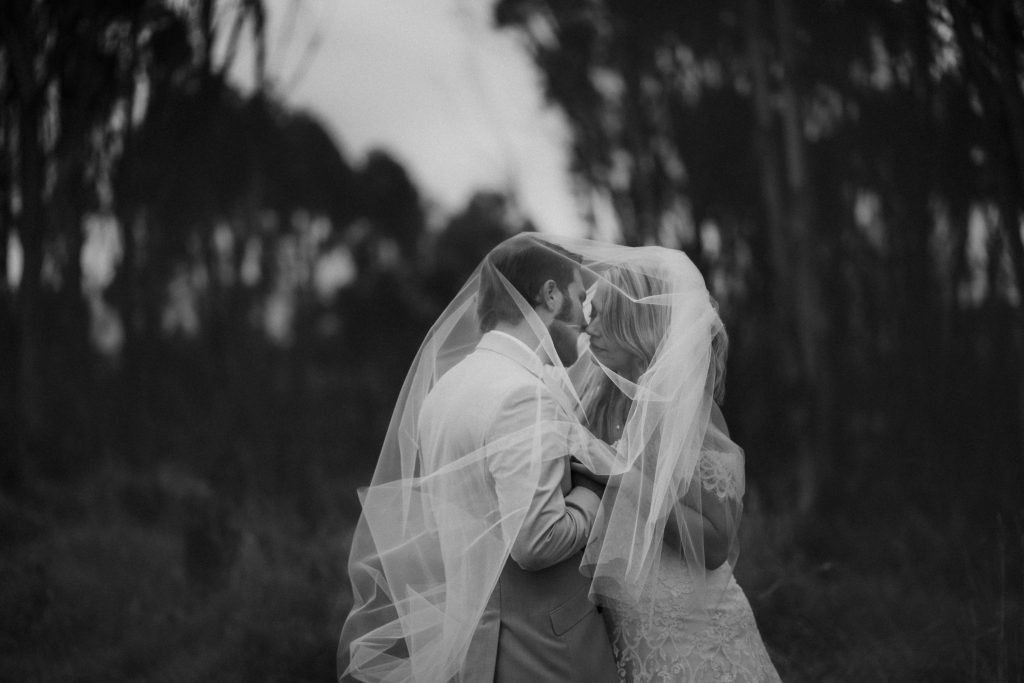 A fine art wedding bridal portrait in black and white near Wharareta with Tara and Dylan, by Queenstown Wedding Photographer Binh Trinh