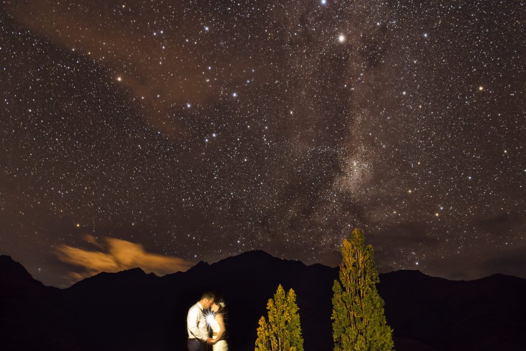 Astro and milky way wedding photography at Glendhu Station in Wanaka by Queenstown Wedding Photographer Binh Trinh